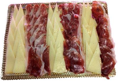 Bandeja grande cuadrada de jamón y queso