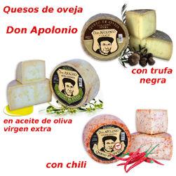 Quesos Don Apolonio de trufa, de chili y de aceite de oliva